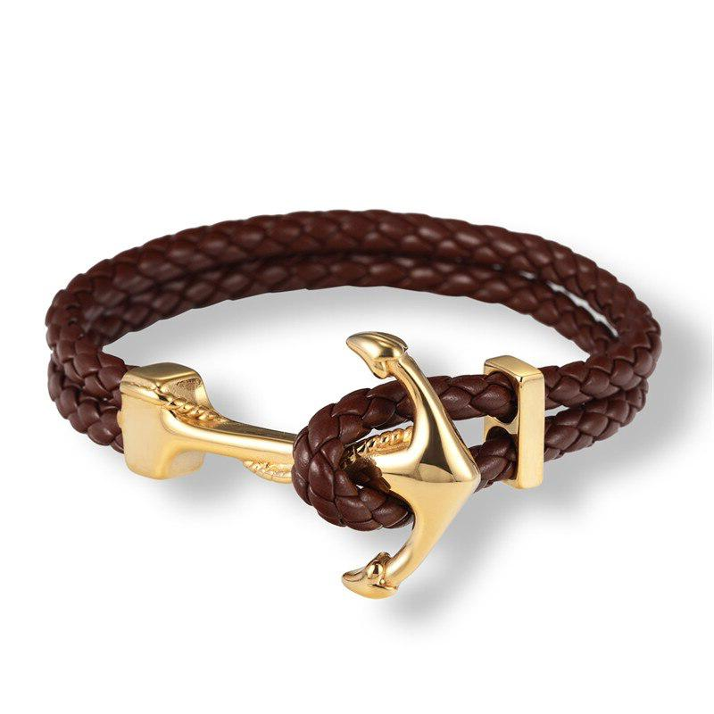 Bracelet ancre cuir luxueux - or brun bracelet Goodz.world