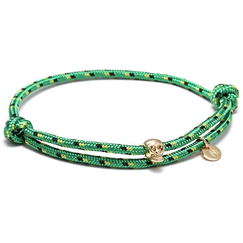 Bracelet cordon homme tête de mort - vert jungle bracelet Goodz.world