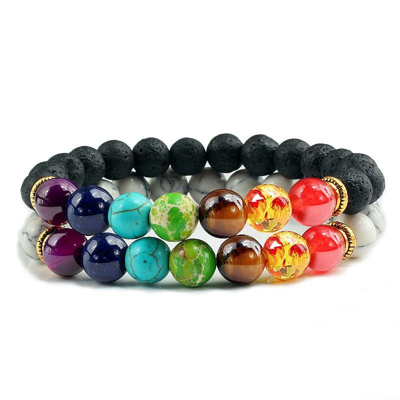 Bracelet couple perle 7 chakra - pierre de lave agate bracelet Goodz.world