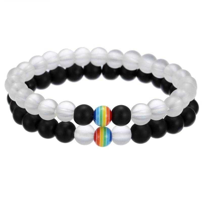 Bracelet couple perle gay pride LGBT cristal mat onyx - arc-en-ciel bracelet Goodz.world