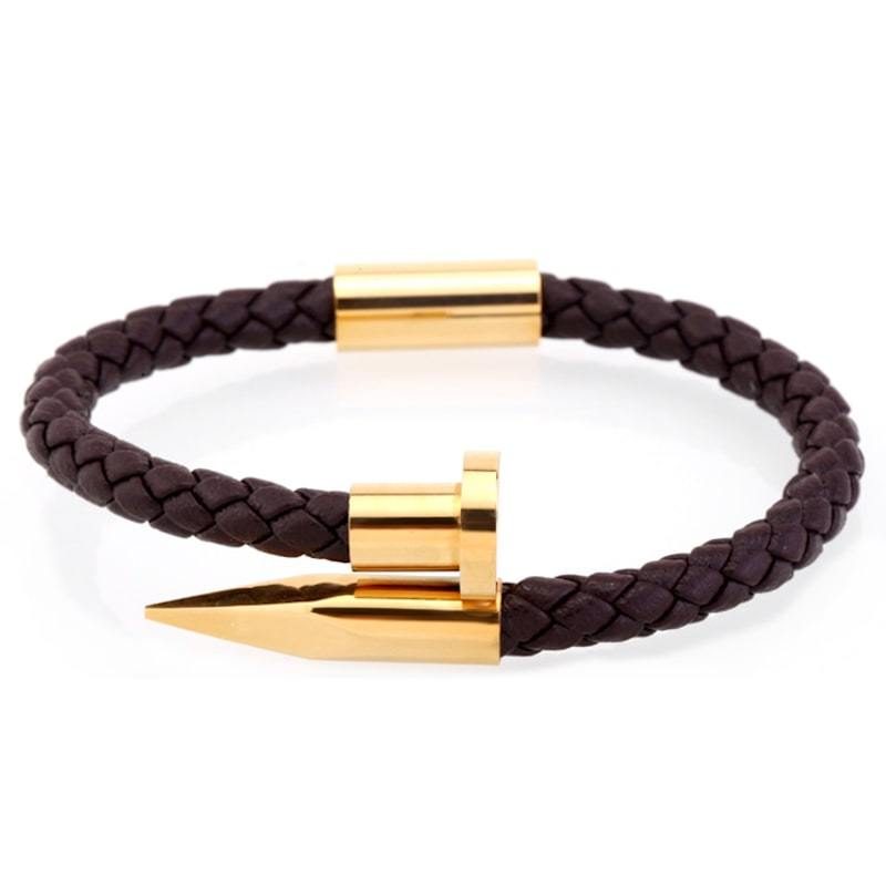 Bracelet homme cuir clou acier - or brun bracelet Goodz.world XS 165 mm