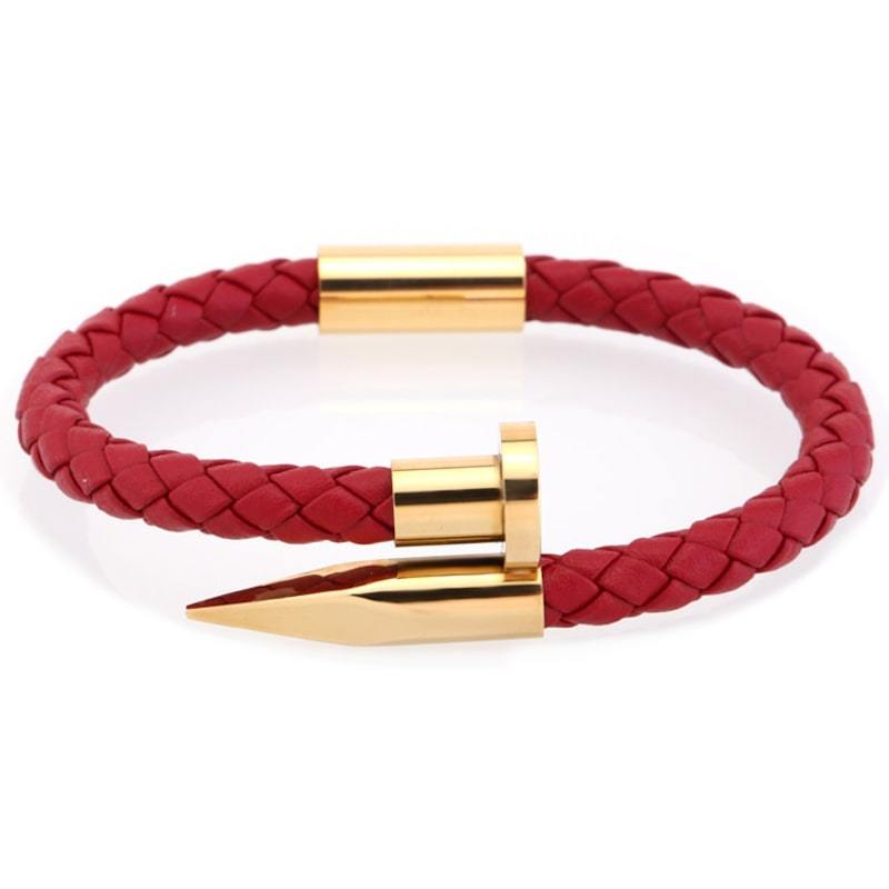Bracelet homme cuir clou acier - or rouge bracelet Goodz.world XS 165 mm