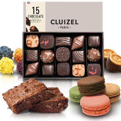 All gourmet chocolate, assorted truffles, and chocolate gift boxes