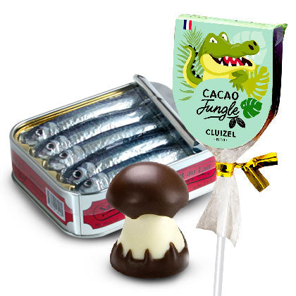 Gourmet Chocolate Mushrooms, chocolate sardines, baguettes, and lollipops