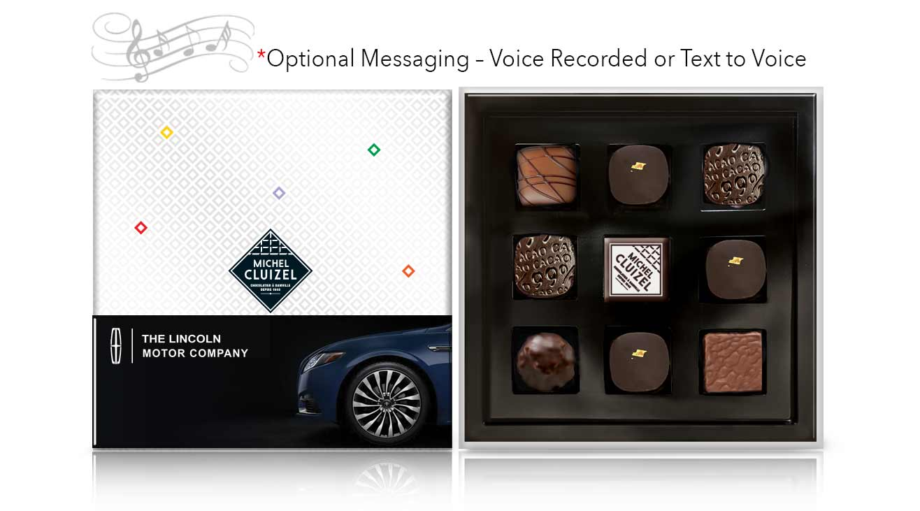 Corporate chocolate gifts with personalized messaging