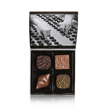 4 milk and dark Gourmet Chocolates in a pretty gift box