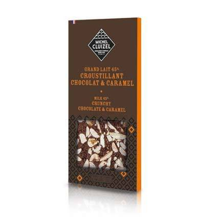 Milk chocolate bar, 45% cocoa content, that melts in your mouth with almond pieces and caramelized biscuit.