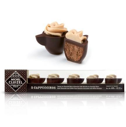Gourmet Chocolate Ganache infused with coffee shaped like mini cappuccino cups coated in dark chocolate and topped with white chocolate gianduja, Cappuccino N°5, novelty chocolate