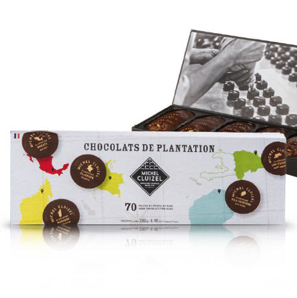 Gourmet Chocolate Tasting Box - '1ers Crus de Plantation,' 70 chocolate discs from 5 Plantations