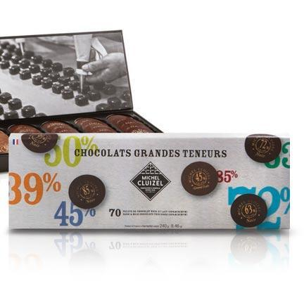 Gourmet Chocolate Tasting Box - 'Grand Teneurs,' 70 chocolate discs with different cocoa contents