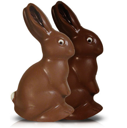 Beautifully detailed milk or dark chocolate bunny, 39% cocoa or 63% cocoa