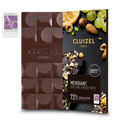 'Award Winning' high cocoa content 72% dark chocolate bar with a perfect harmony of whole pistachio, candied orange peel, and caramelized almonds & hazelnuts.