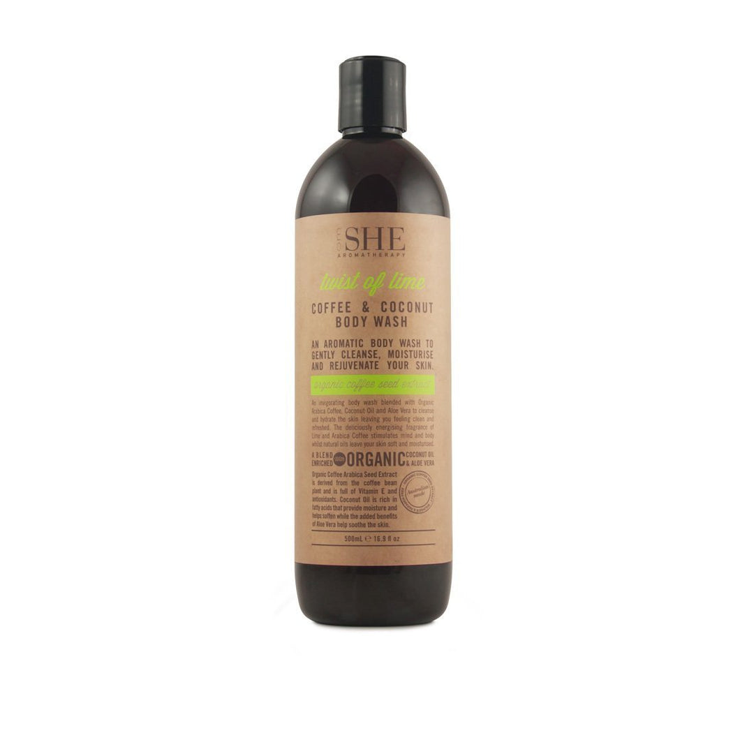 OM SHE Aromatherapy Twist of Lime COFFE & COCONUT BODY WASH 500ML with Organic Oils