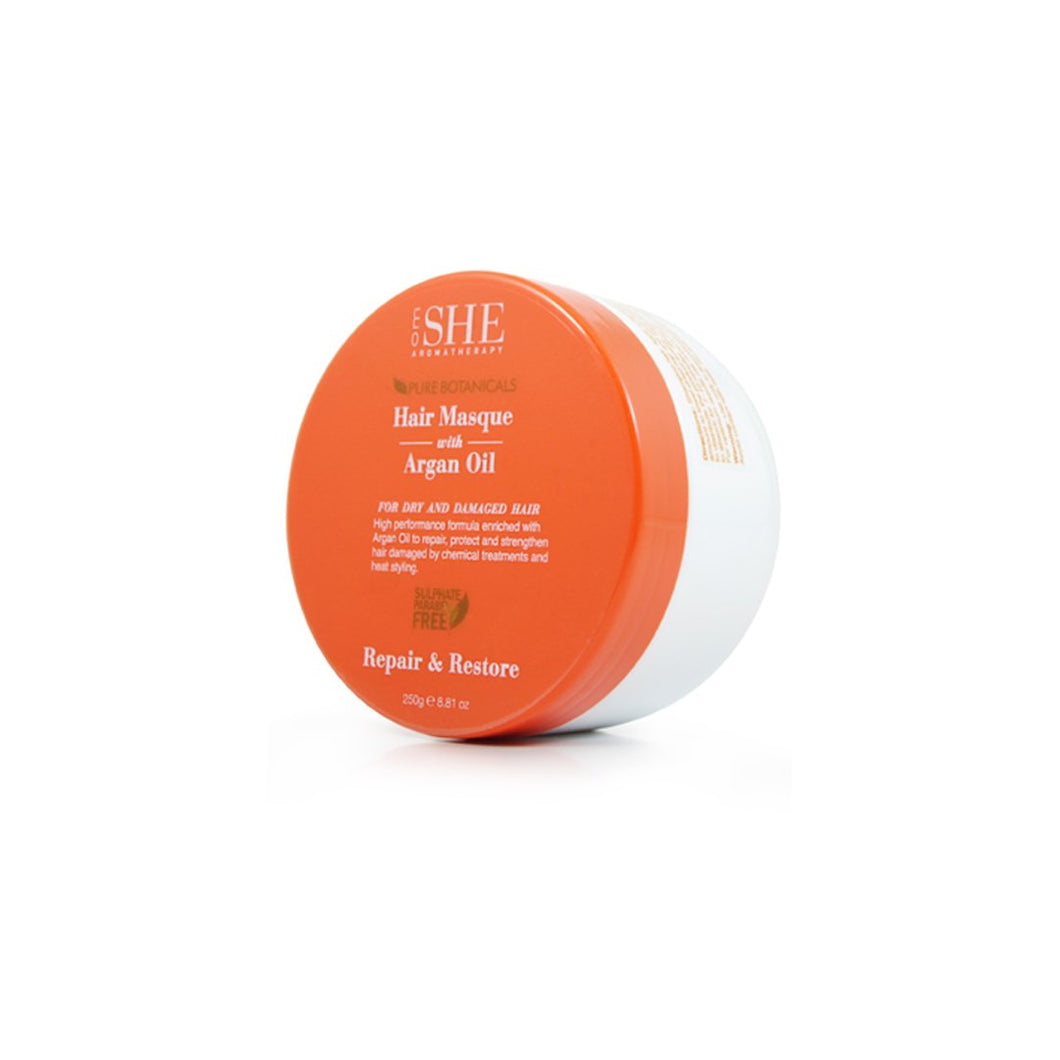 OM SHE Aromatherapy. Pure Botanicals. Hair Masque with Argan Oil for Dry and Damaged Hair.   REPAIR & RESTORE 250G