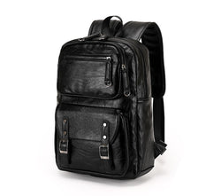 Z198 Men's PU Leather Functional Travel Backpack