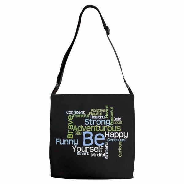Graphics Inspire - BE Yourself Motivational Word Cloud to Inspire Shoulder Tote Bag