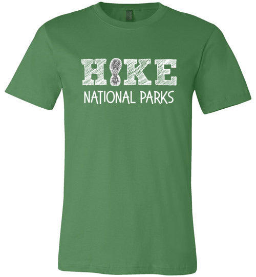 HIKE National Parks Hand Sketched Font Fun Hiker Premium Unisex Leaf Green T-Shirt