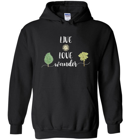 Graphics Inspire - LIVE LOVE Wander in Nature Wanderlust Black Hoodie
