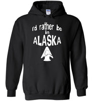 Graphics Inspire - I'd rather be in ALASKA - Arrowhead with State of Alaska Black Hoodie