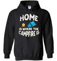 Graphics Inspire - HOME Is Where The CAMPFIRE IS Funny Tent Camping Distressed Black Hoodie