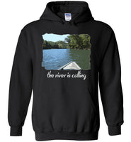 Graphics Inspire - The River is Calling from Kayak with fishing pole Angler's Black Hoodie