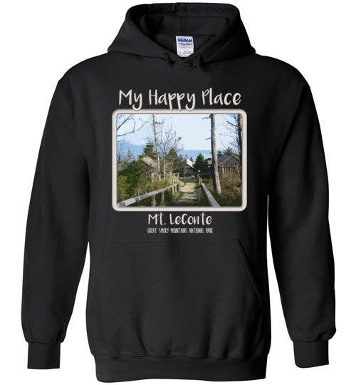Graphics Inspire - Mt. LeConte is My Happy Place in the Great Smoky Mountains National Park Black Hoodie