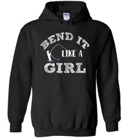 Graphics Inspire - Bend It Like A Girl Fun Fly Fishing Fly Rod Bent Black Hoodie