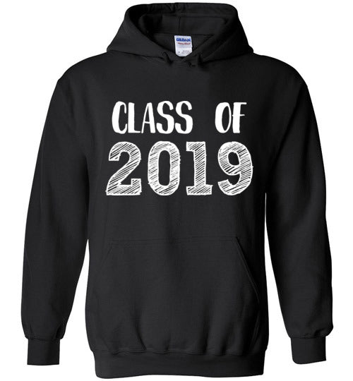 Graphics Inspire - Class of 2019 Graduation Hand Sketched Black Hoodie