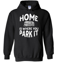 Graphics Inspire - HOME Is Where You Park It Funny Vintage RV Camping Black Hoodie