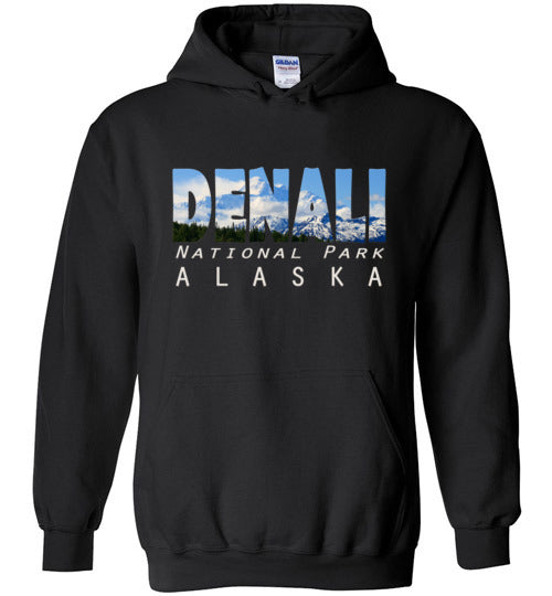 Graphics Inspire - DENALI National Park Alaska Mountain Range Black Hoodie