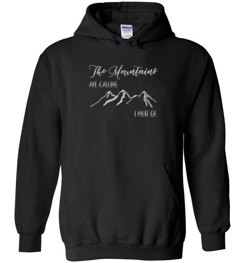 Graphics Inspire - The Mountains are Calling I Must Go Snowy Design Black Hoodie