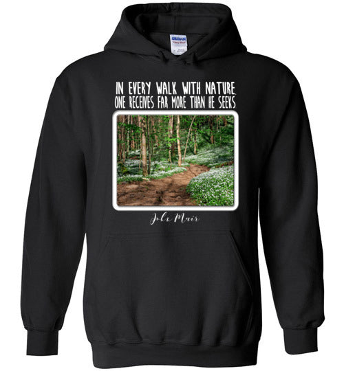 Graphics Inspire - In Every Walk with Nature One Receives Far More - John Muir Quote Floral Trail Black Hoodie