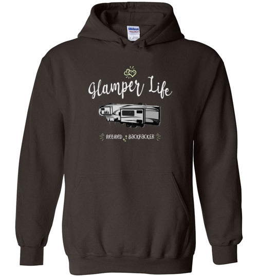 Graphics Inspire - Glamper Life Fifth Wheel RV Retired Backpacker Hoodie