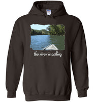 Graphics Inspire - The River is Calling from Kayak with fishing pole Angler's Dark Chocolate Hoodie