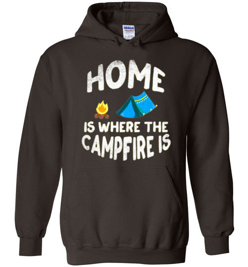 Graphics Inspire - HOME Is Where The CAMPFIRE IS Funny Tent Camping Distressed Dark Chocolate Hoodie