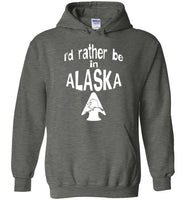 Graphics Inspire - I'd rather be in ALASKA - Arrowhead with State of Alaska Dark Heather Hoodie