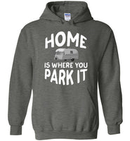 Graphics Inspire - HOME Is Where You Park It Funny Vintage RV Camping Dark Heather Hoodie