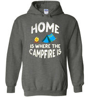 Graphics Inspire - HOME Is Where The CAMPFIRE IS Funny Tent Camping Distressed Dark Heather Hoodie