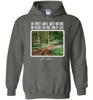Graphics Inspire - In Every Walk with Nature One Receives Far More - John Muir Quote Floral Trail Dark Heather Hoodie