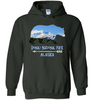 Graphics Inspire - Denali National Park Alaska in Grizzly Bear Forest Green Hoodie