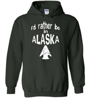 Graphics Inspire - I'd rather be in ALASKA - Arrowhead with State of Alaska Forest Green Hoodie