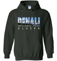 Graphics Inspire - DENALI National Park Alaska Mountain Range Forest Green Hoodie