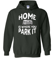 Graphics Inspire - HOME Is Where You Park It Funny Vintage RV Camping Forest Green Hoodie