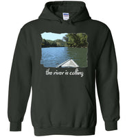 Graphics Inspire - The River is Calling from Kayak with fishing pole Angler's Forest Green Hoodie