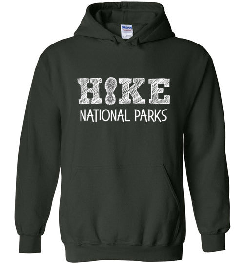 Graphics Inspire - HIKE National Parks Hand Sketched Font Fun Hiker Forest Green Hoodie