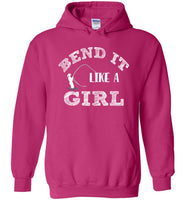 Graphics Inspire - Bend It Like A Girl Fun Fly Fishing Fly Rod Bent Bright Pink Hoodie