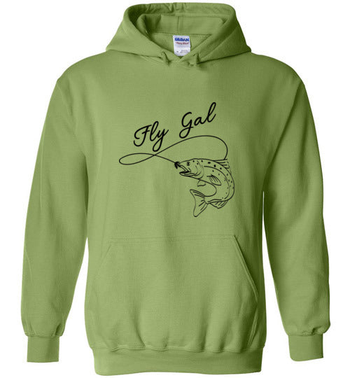 Graphics Inspire Hoodie - Fly Gal Fly Fish Rainbow Trout in Black Hoodie
