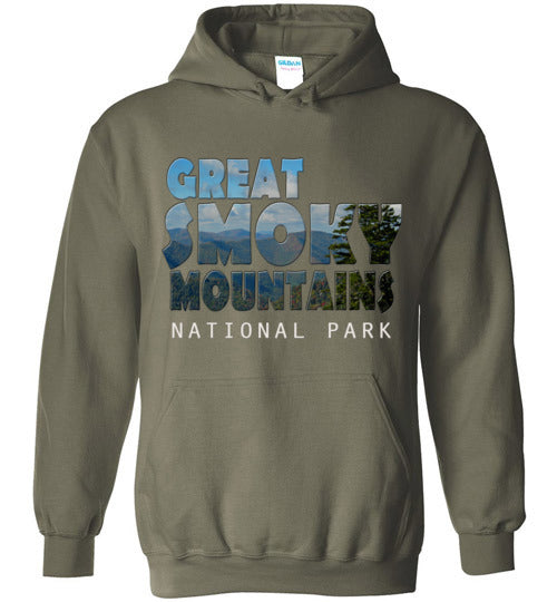 Graphics Inspire - Great Smoky Mountains National Park in Mountain Landscape Military Green Hoodie
