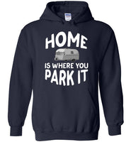 Graphics Inspire - HOME Is Where You Park It Funny Vintage RV Camping Navy Hoodie