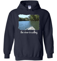 Graphics Inspire - The River is Calling from Kayak with fishing pole Angler's Navy Hoodie